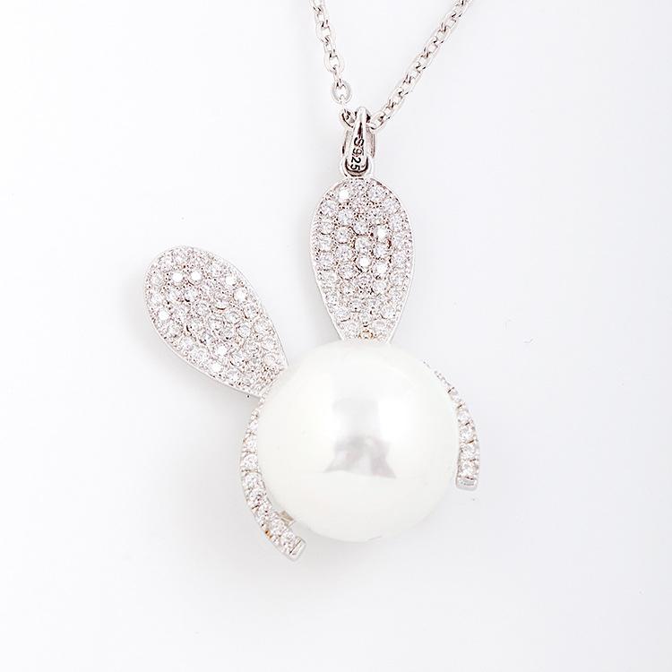 新款时尚纯银镶钻吊坠 兔耳朵可爱动物造型