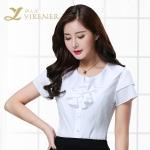 2016新款夏季纯色百搭短袖女性衬衫工作