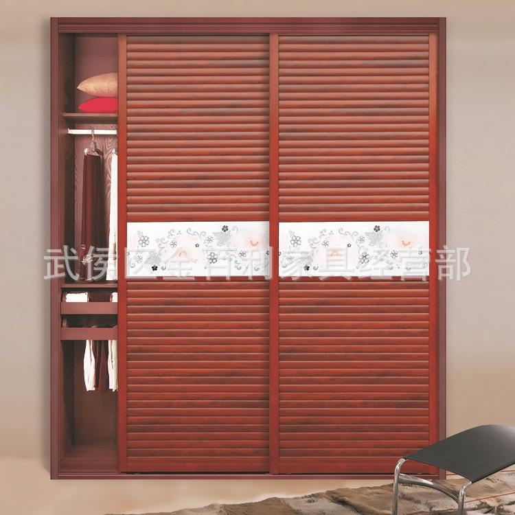 新款百叶板式衣柜推拉门 居家卧室现代橱柜