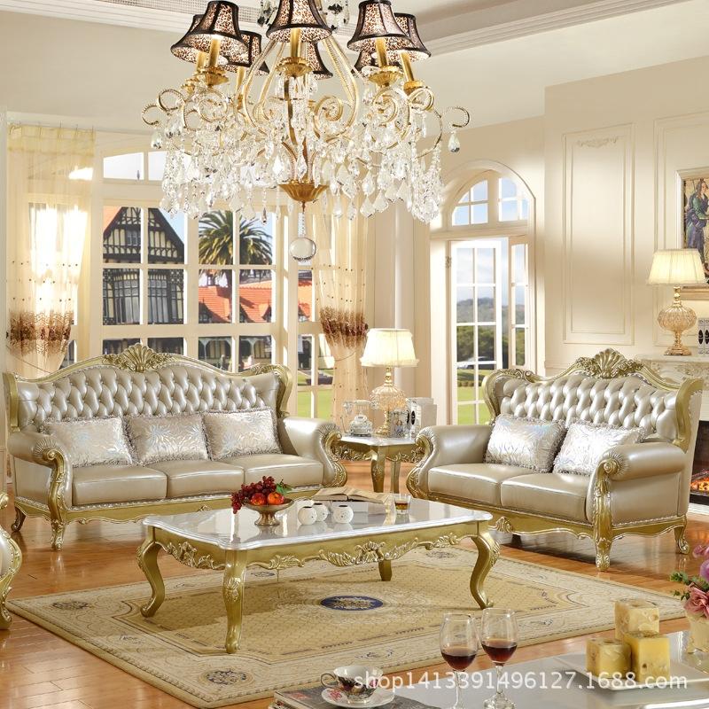 欧式真皮沙发新款头层牛皮实木雕花高档白色图片