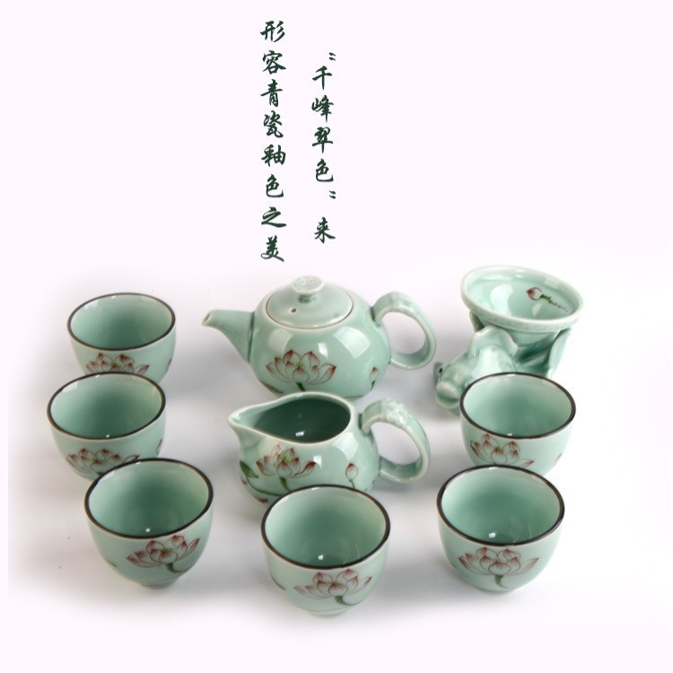 德化手绘青瓷高档茶具套装款可选陶瓷功夫茶
