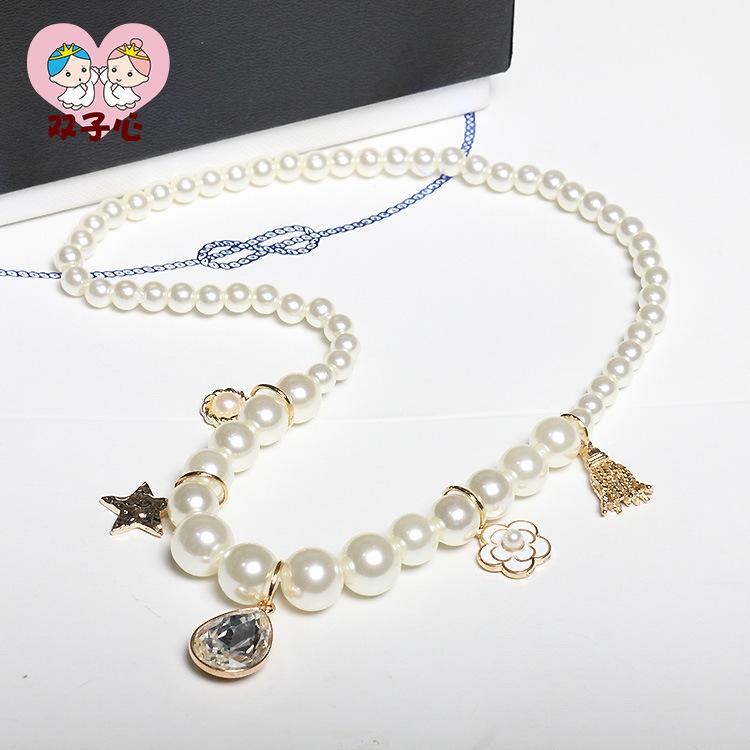 欧美儿童饰品 女童合金珍珠项链 水晶吊坠