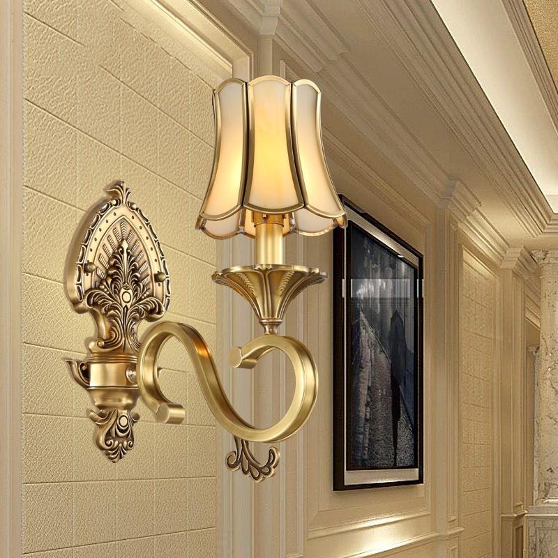 欧式全铜壁灯客厅卧室床头壁灯简欧电视背景