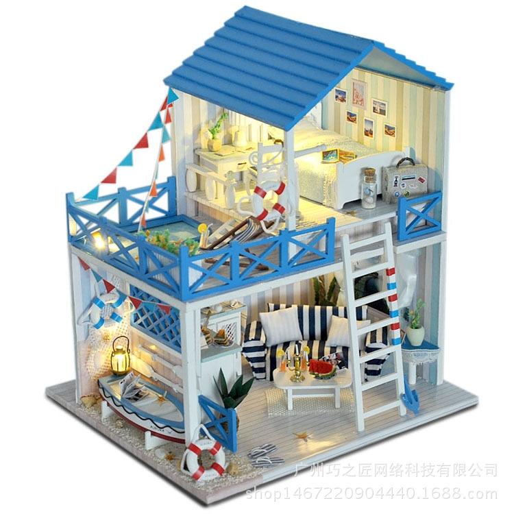 巧之匠 diy小屋蓝白小调手工制作小房子