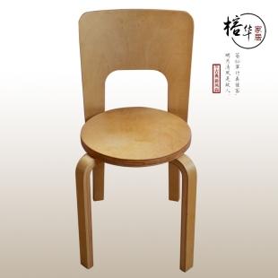 桦木弯曲木休闲椅子实木餐椅现代简约靠背椅