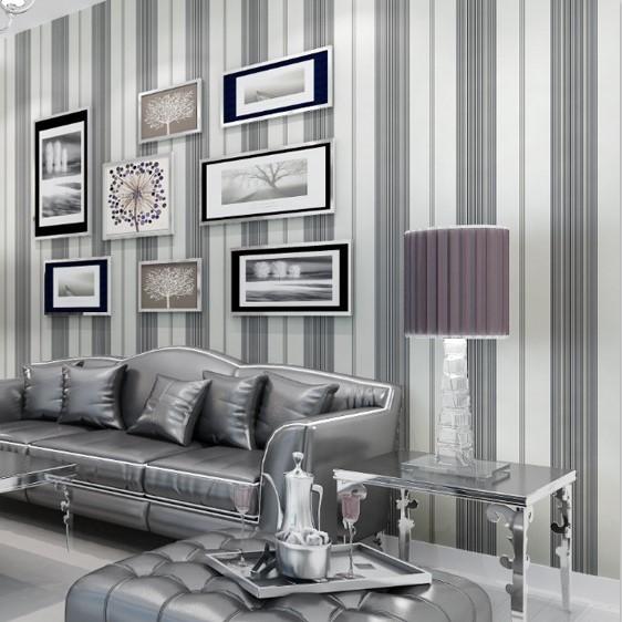 现代简约浅灰色细条纹无纺布墙纸 卧室客厅
