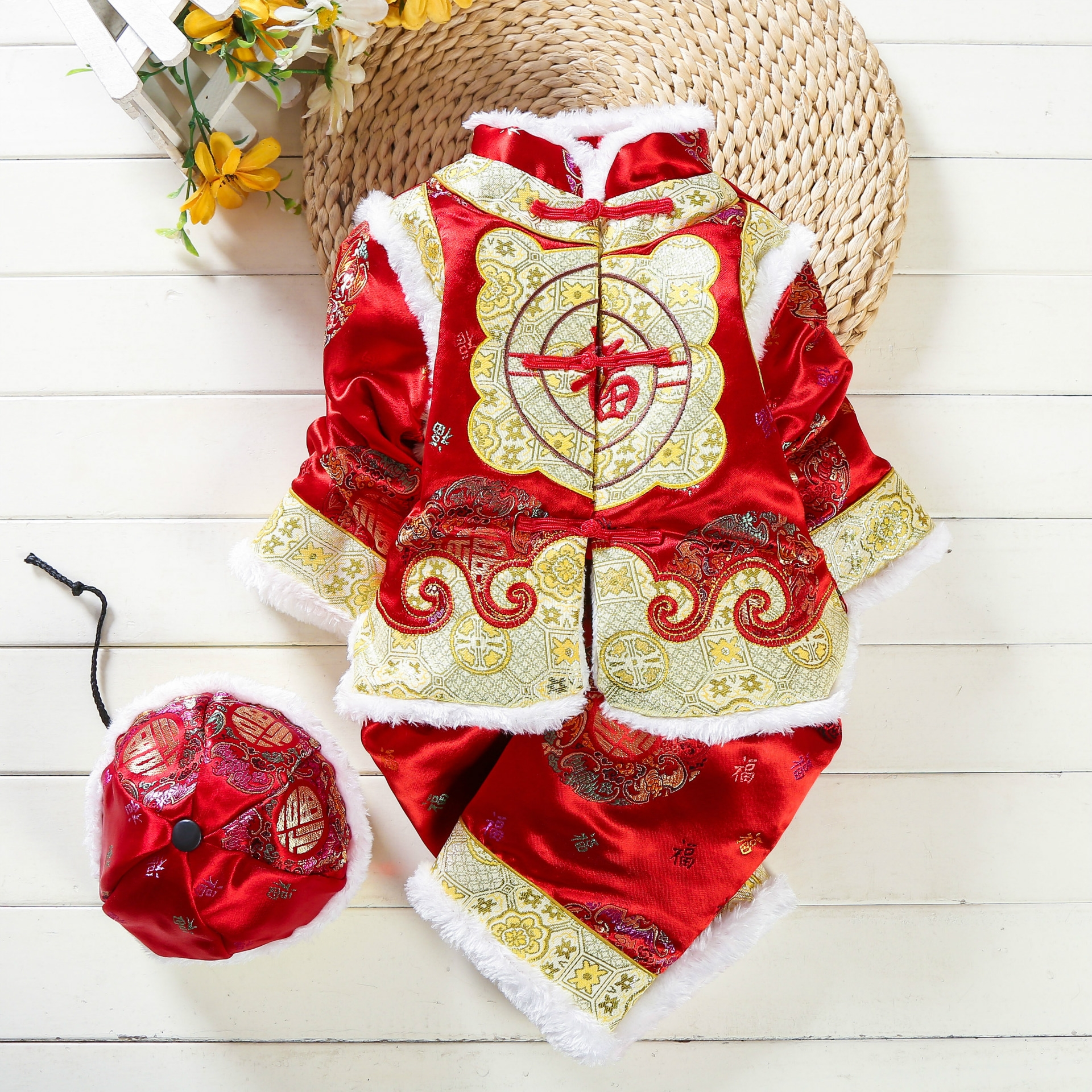 冬季新款 民族风儿童唐装 宝宝织锦缎套装