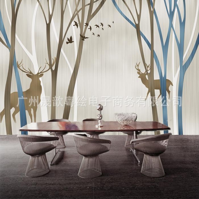 无缝大型定制壁画北欧风格墙纸壁纸客厅卧室图片