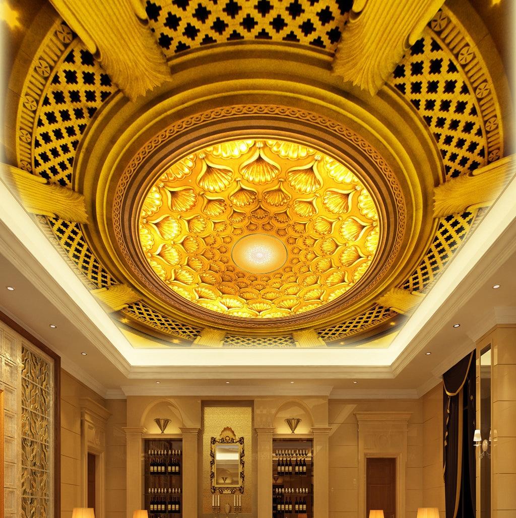 欧式天花板吊顶墙纸 酒店客厅大堂顶棚背景-墙纸,壁纸