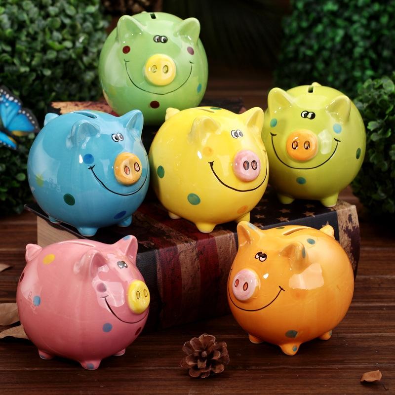 o1211 211042彩色陶瓷猪存钱罐