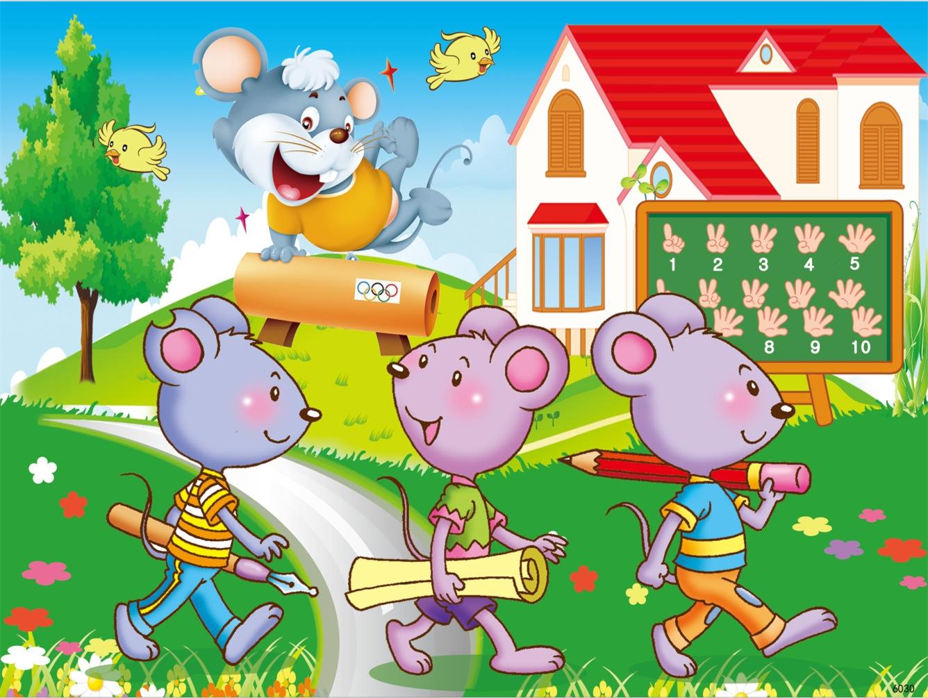 是否有动漫形象:否 玩具类别:木质玩具 颜色:老鼠上学,动物聚会,小黄
