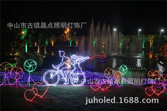 单车恋人造型灯,梦幻灯光节专用灯具,景区