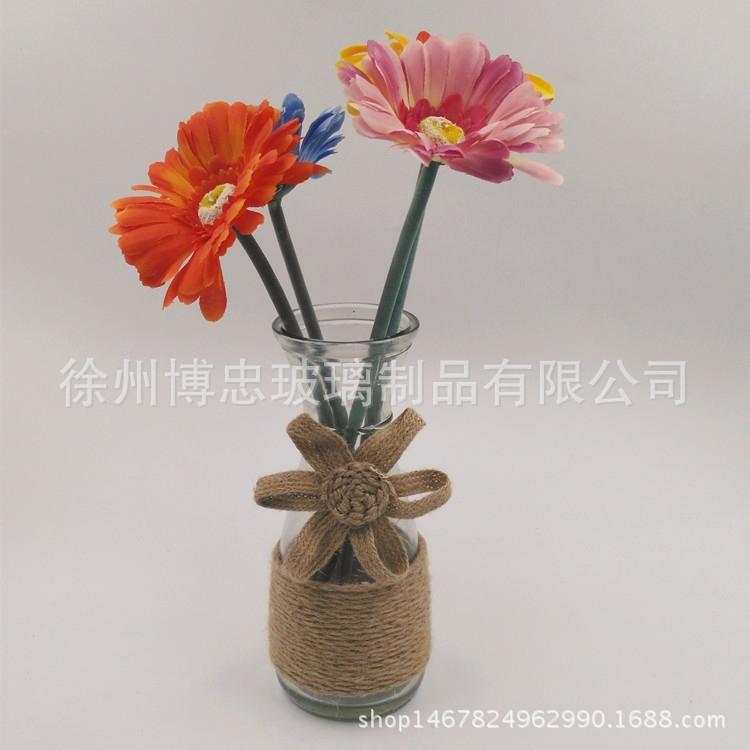 纯手工麻绳花瓶zakka玻璃文艺透明小花