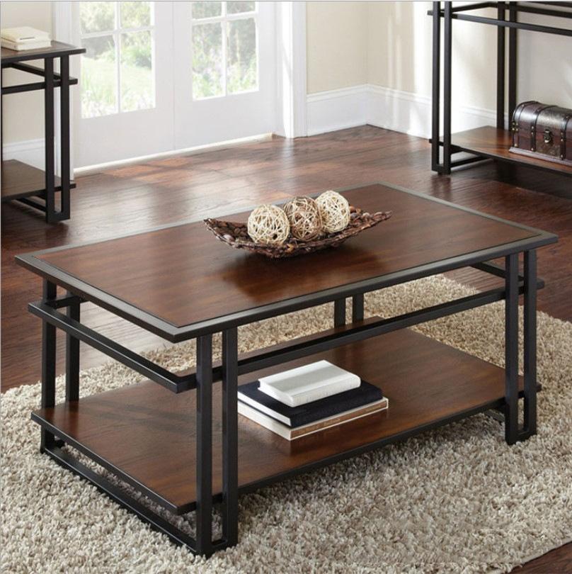 美式铁艺实木茶几 复古创意家用双层茶桌时