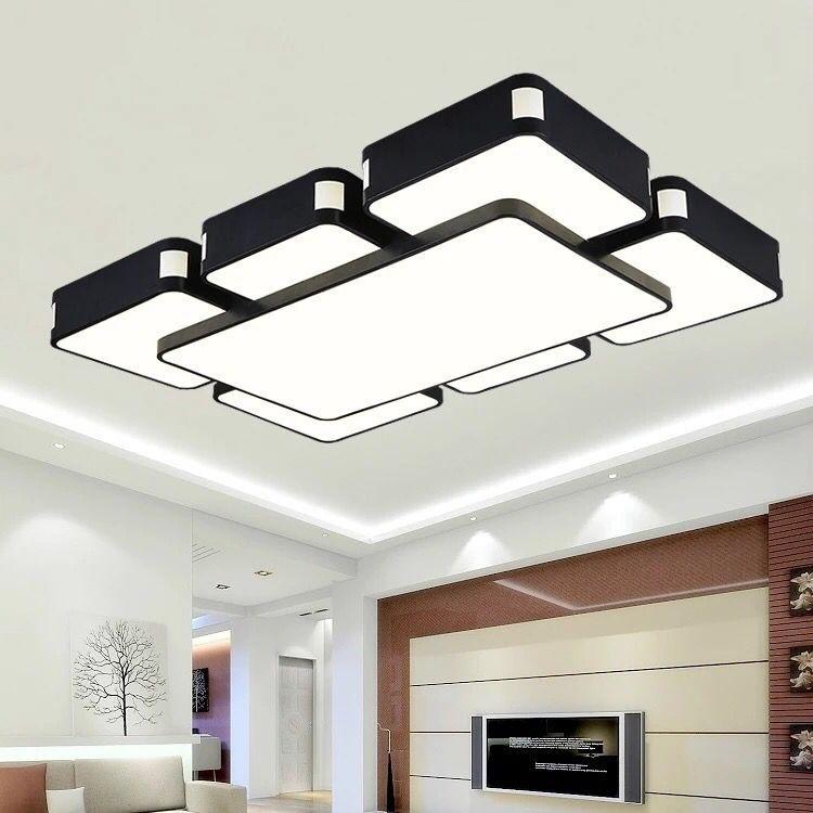 现代简约长方形客厅灯 led异形变色调光