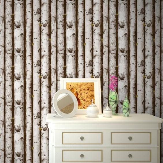特惠北欧白桦树林墙纸 特色树干树木网吧网
