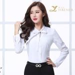 新款夏装女性长袖白衬衫女职业工装纯色修身