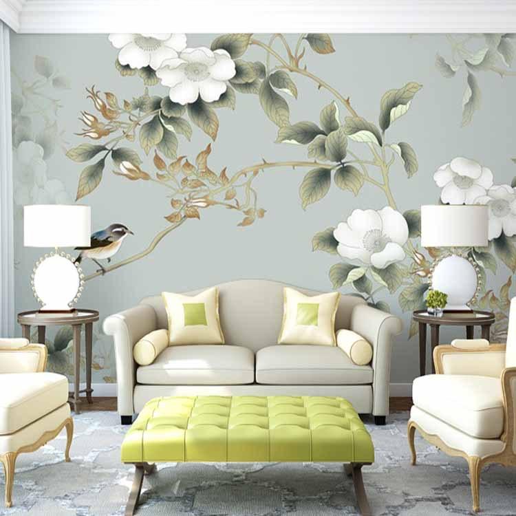 00 销量: 10件 电视背景墙纸 自然风景壁纸客厅卧室薰衣草紫色无缝