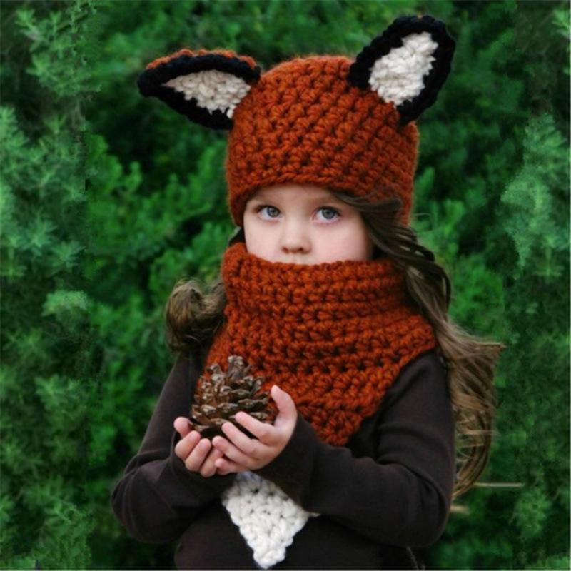 速卖通新款儿童针织帽卡通动物狐狸毛线帽手