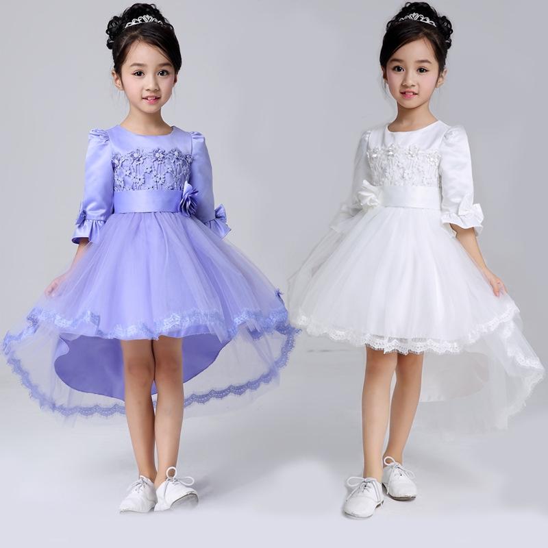 2016秋季儿童礼服女童公主裙拖尾裙长袖