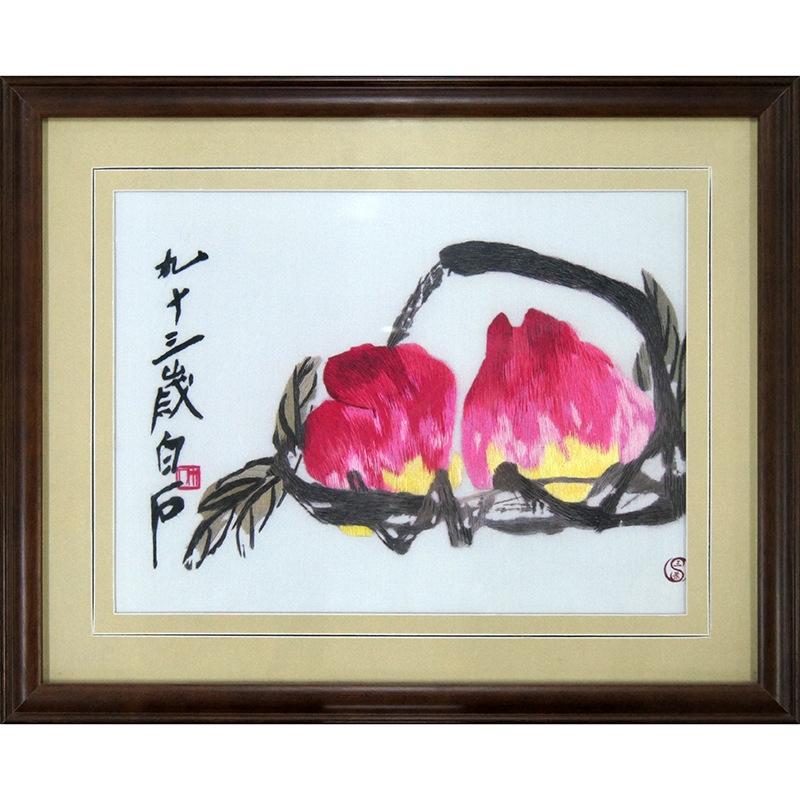 【三景】手工单面绣水墨桃子中国传统特色工