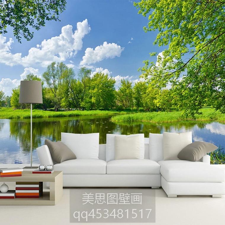 大型壁画 3d立体湖泊风景壁纸沙发背景墙