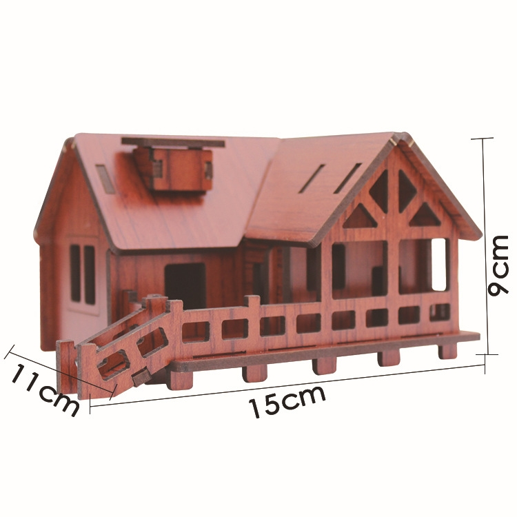 3d立体拼图批发激光切割建筑房子 可定制
