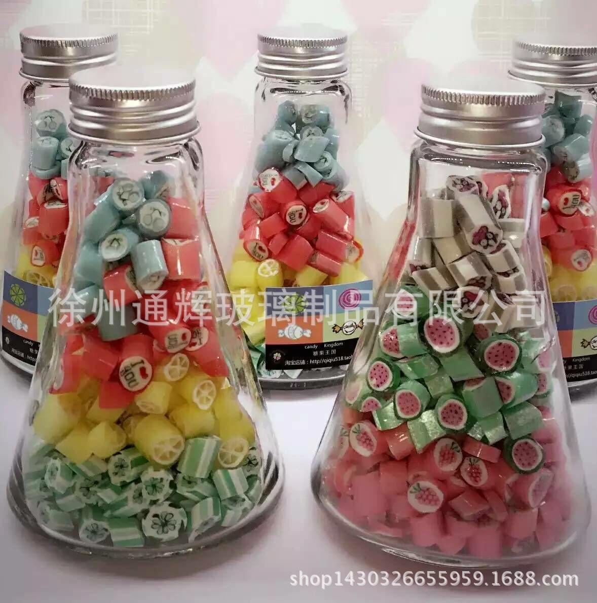 现货供应锥形铝盖玻璃瓶 创意手工糖果 漂