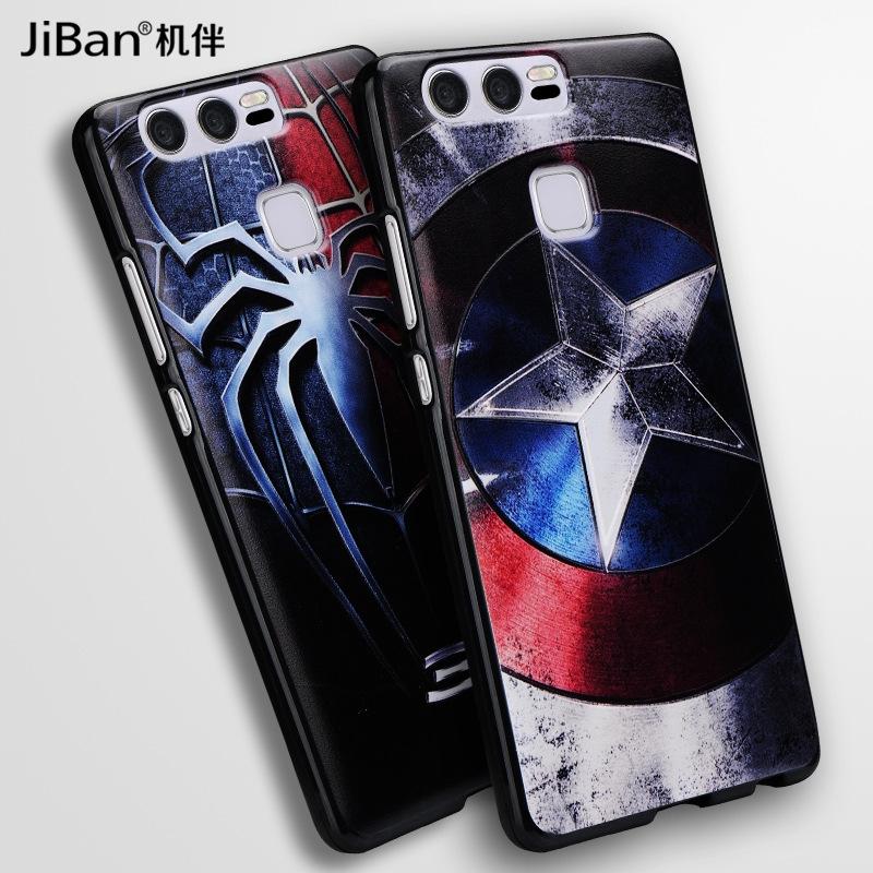 华为p9plus手机壳3d卡通黑壳彩绘软
