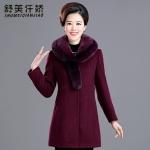郑东晖中老年女装毛呢外套中长款狐狸尾毛领