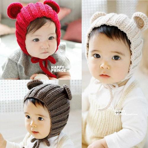 ht-1703 手工米奇耳朵婴幼儿毛线帽-帽子