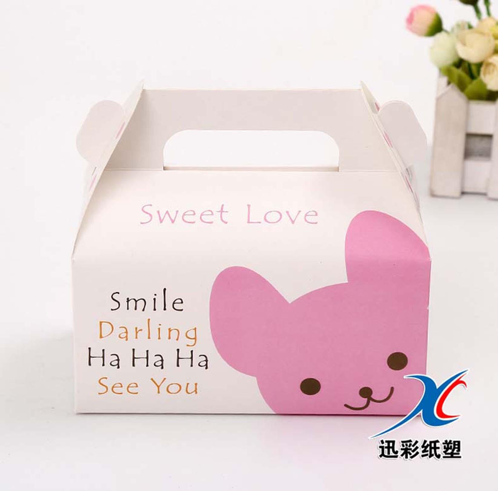厂家定做卡通西点蛋糕纸盒 动物创意手提盒