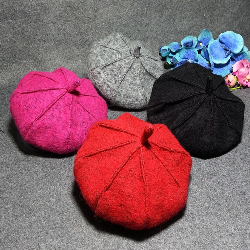 秋冬新款帽子 男女儿童八角帽 羊毛混纺画