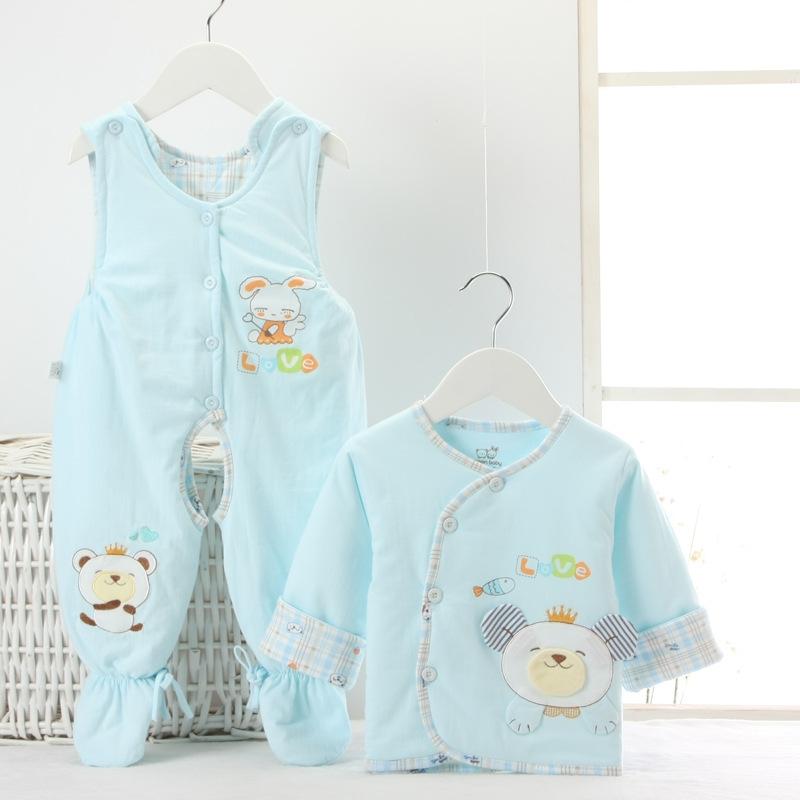 春秋款婴幼儿棉衣背带裤2件套新生儿男女宝