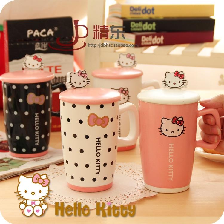 创意粉色可爱kt猫陶瓷水杯马克杯 简约个-杯子