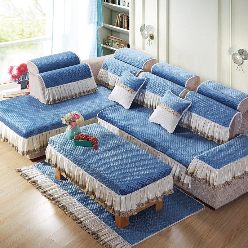 浅蓝色欧式沙发垫椅垫茶几罩沙发套罩定做任