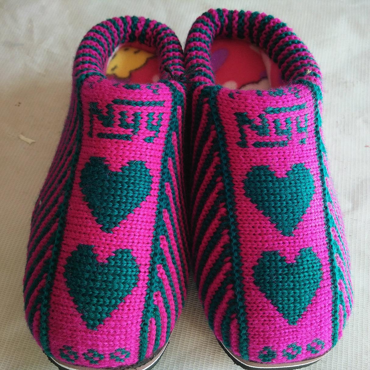 女式低帮拖鞋 手工编织毛线棉鞋 加厚保暖