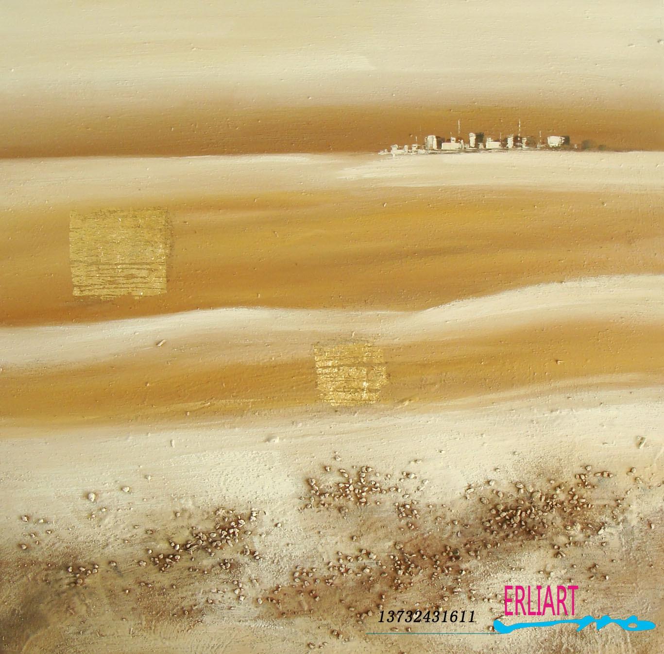 纯手绘沙漠风景抽象油画 客厅装饰画现代
