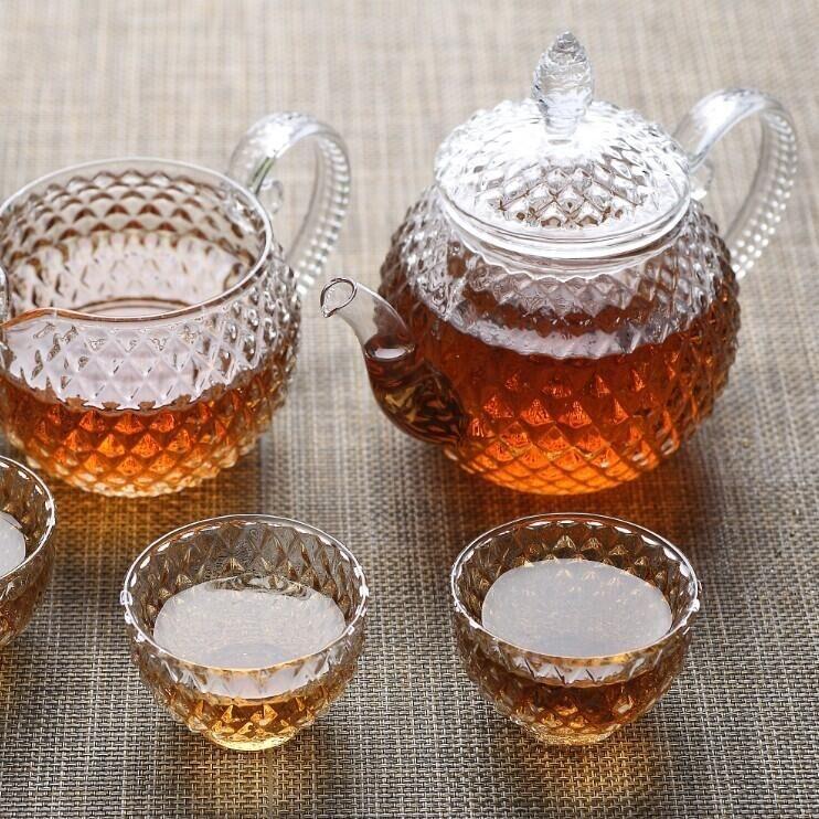 创意礼品耐热透明玻璃茶具套装 手工制作八