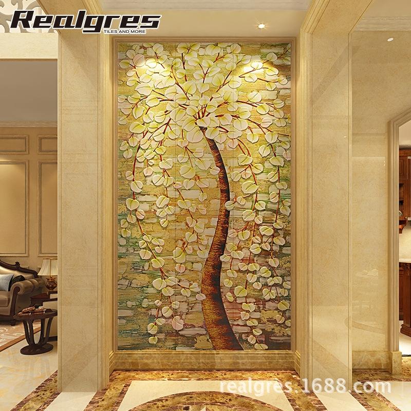 雷亚尔 玄关瓷砖背景墙欧式3d雕刻瓷砖壁