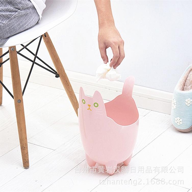 批发塑料家用垃圾桶桌面杂物可爱猫咪收纳桶